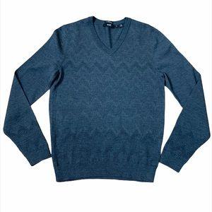 BOSS Hugo Boss Gry V-Neck Extrafine Merino Sweater